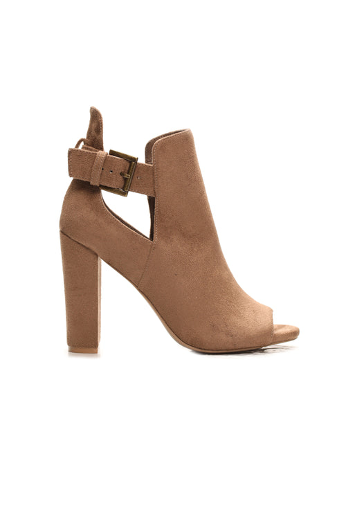 Angie Buckle Booties - Taupe