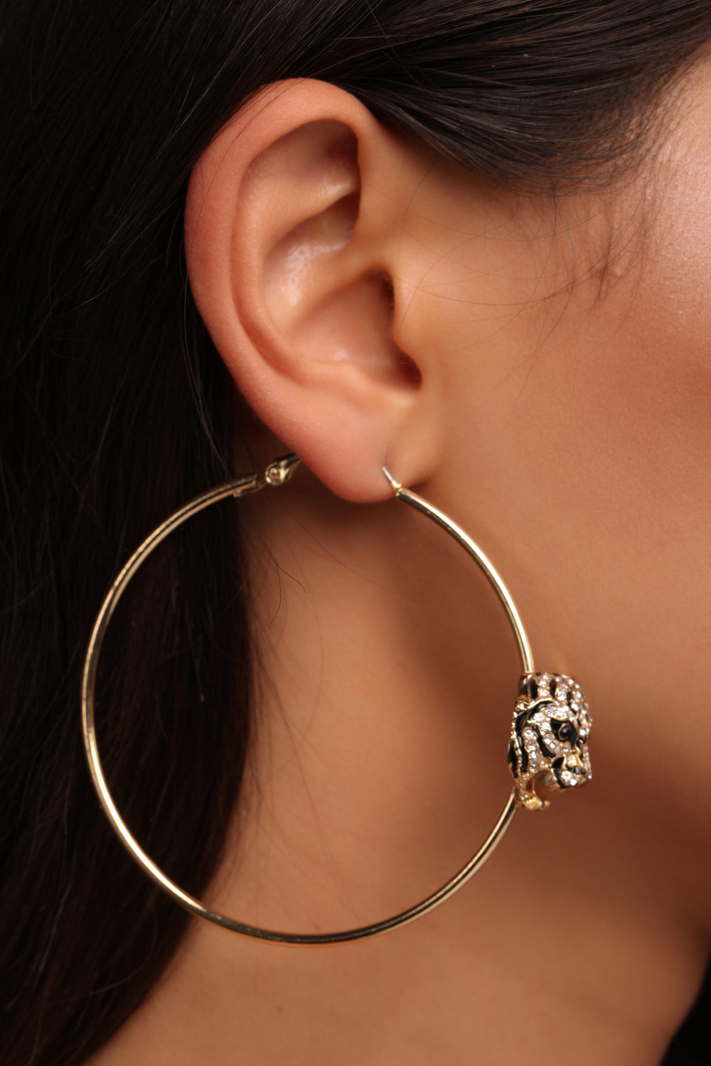 Easy Tiger Hoop Earrings - Gold/Black
