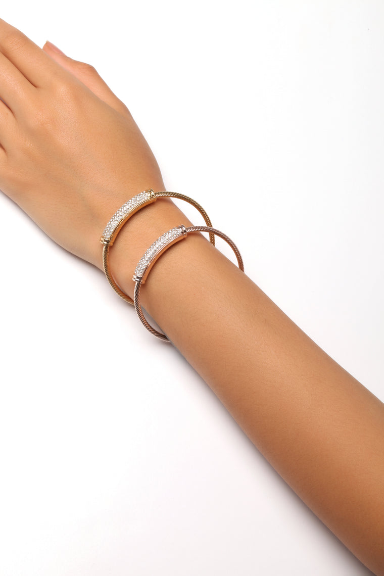 Twist The Truth Bracelet Set - Rose Gold/Gold