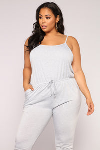 Stay Inside Jumpsuit - Heather Grey