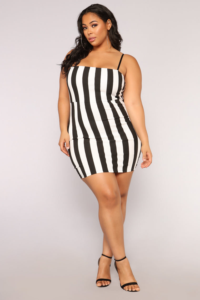 8125f9d48c Friday Nights Striped Dress - Black White. plus-size