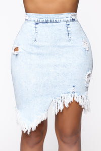 Let's Not About It Denim Skirt - Acid Wash Light Blue