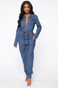 Fight For Your Right Denim Jumpsuit - Medium Blue Wash Angle 3