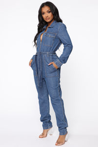 Fight For Your Right Denim Jumpsuit - Medium Blue Wash Angle 1