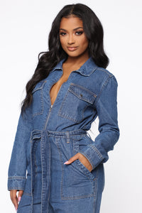 Fight For Your Right Denim Jumpsuit - Medium Blue Wash Angle 2
