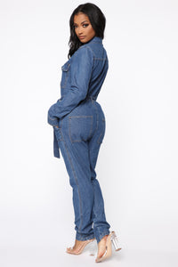 Fight For Your Right Denim Jumpsuit - Medium Blue Wash Angle 4