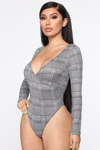 Plaid in Session Bodysuit - Grey