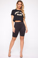 Don't Care Club Crop Top - Black