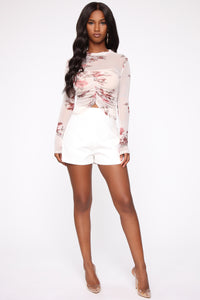 Feeling Floral Mesh Top - Nude