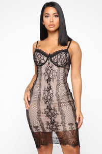 Delicate Feelings Lace Midi Dress - Black/Nude