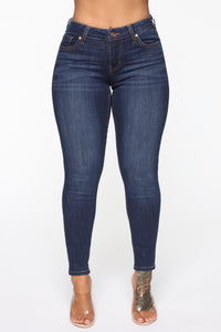 Famous Low Rise Skinny Jeans - Dark Denim