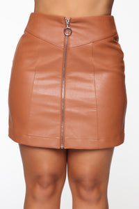 I'm Feeling You Mini Skirt - Tan Angle 2