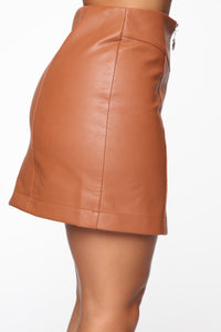 I'm Feeling You Mini Skirt - Tan Angle 4