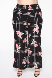 Wild Flower Pant Set - Black/combo