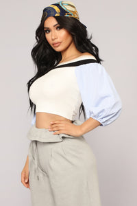 Picnic In The Park Off Shoulder Top - Ivory Combo