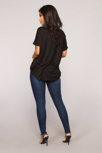 Know Myself Surplice Top - Black