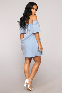 Fresh Breeze Smocked Dress - Blue/White