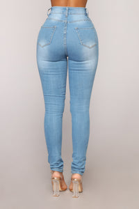 Meet Me Outside Distressed Jeans - Light Blue Wash