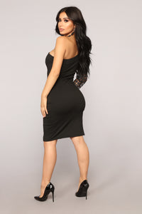 So Divine Asymmetrical Dress - Black
