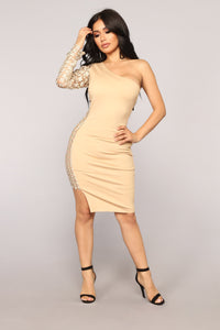 So Divine Asymmetrical Dress - Beige/Gold