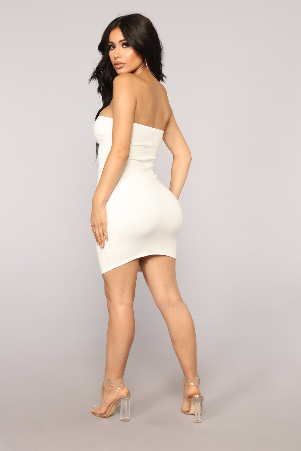 New Zip Code Tube Dress - White/Orange