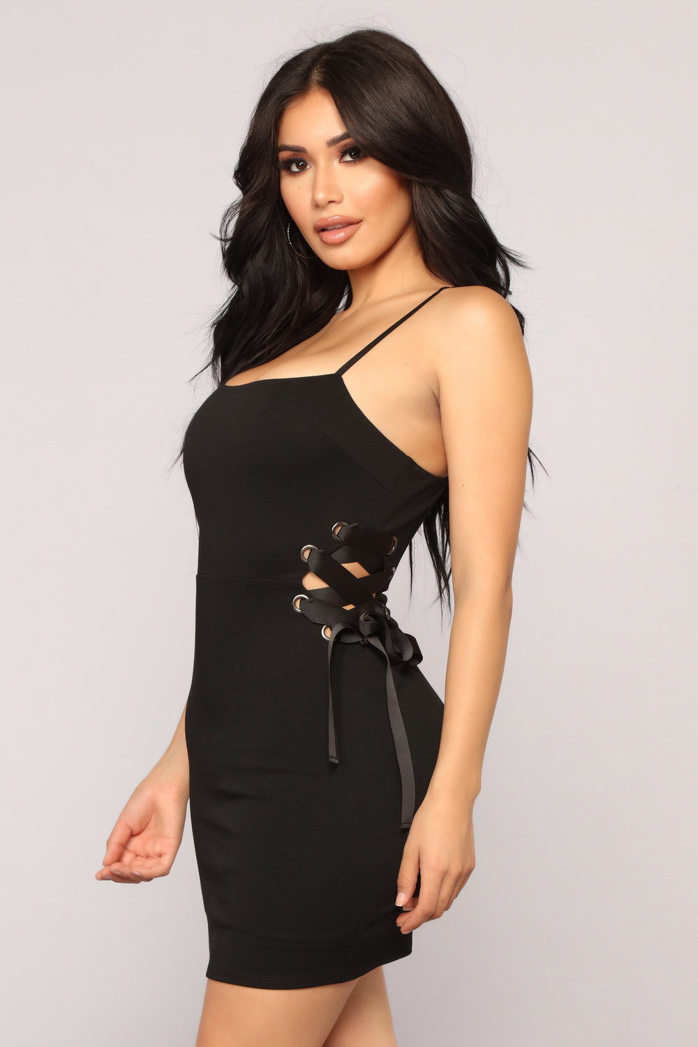 More Than Friends Lace Up Dress - Black