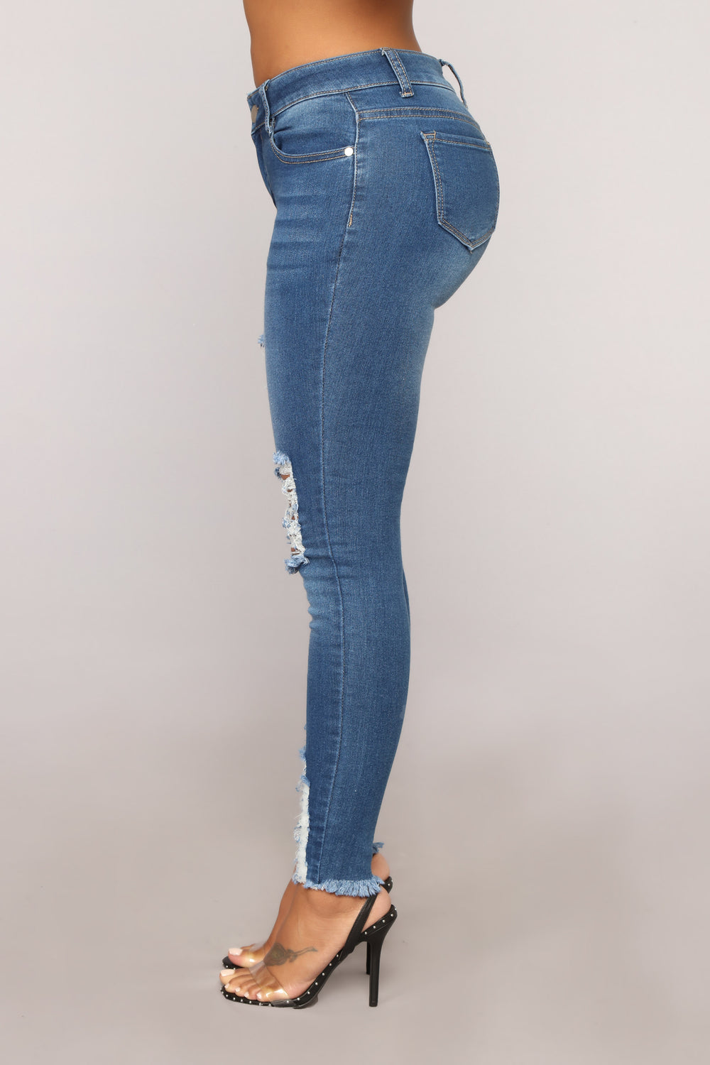Gone Bad Distressed Jeans - Medium Blue Wash