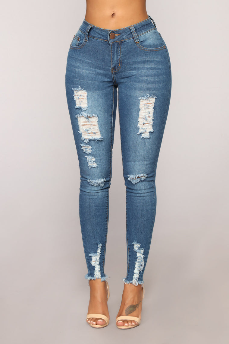 Madison High Rise Distressed Jeans - Medium Blue Wash