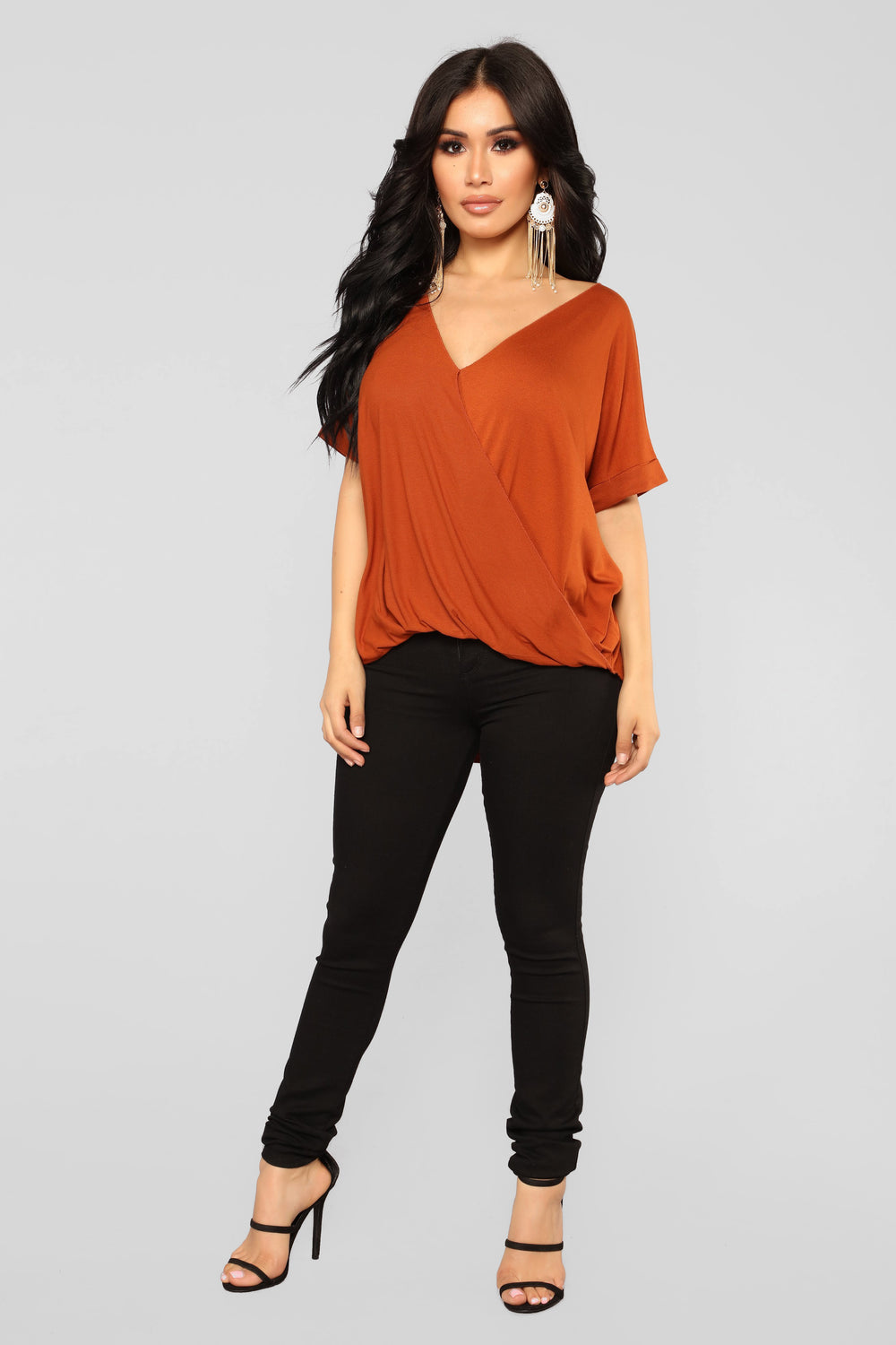 Know Myself Surplice Top - Rust
