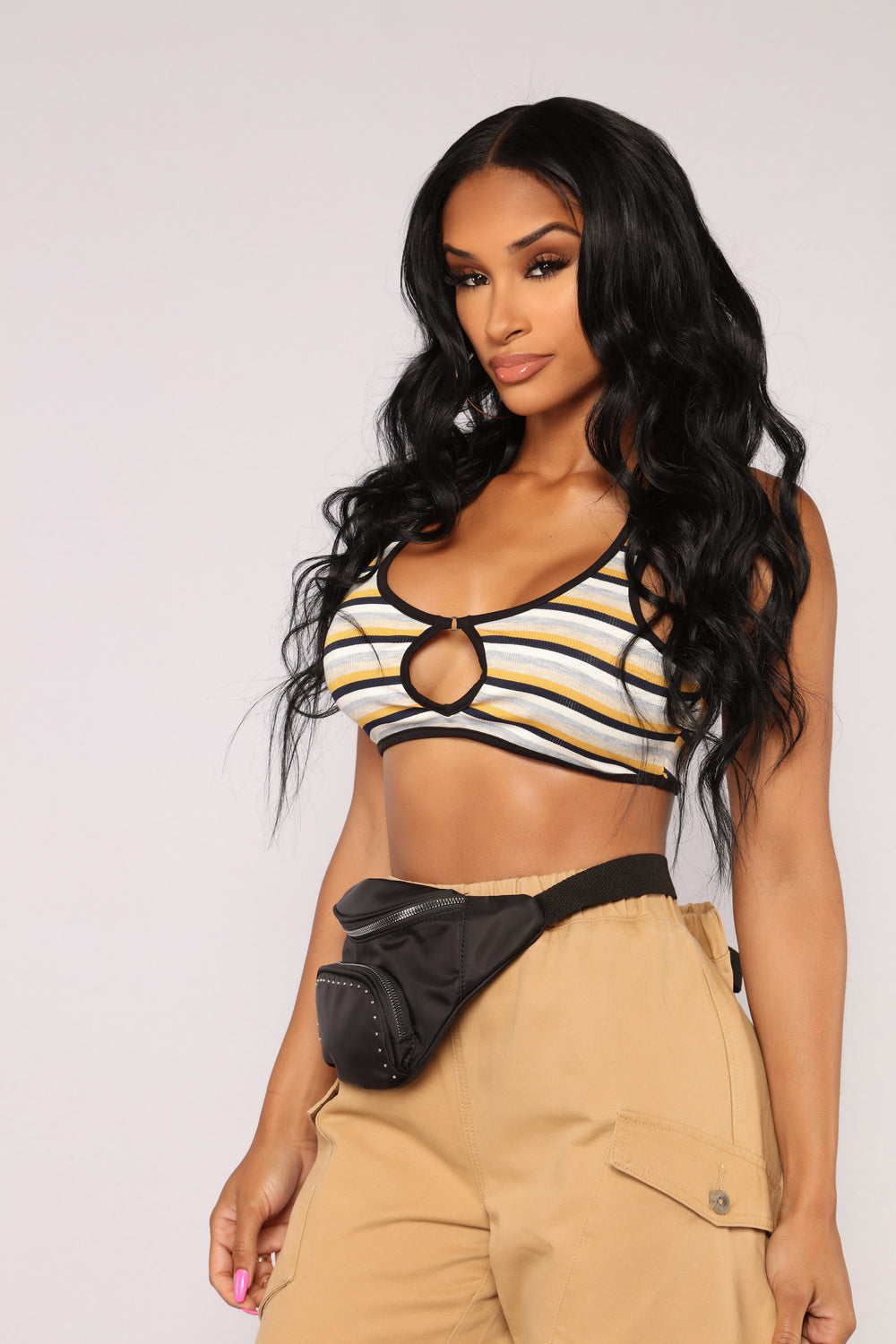 Janet Striped Rib Crop Top - Mustard/Combo