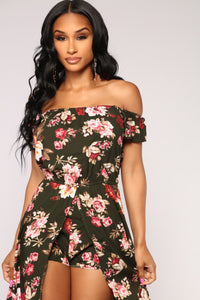 Day Trip Floral Maxi Romper - Olive