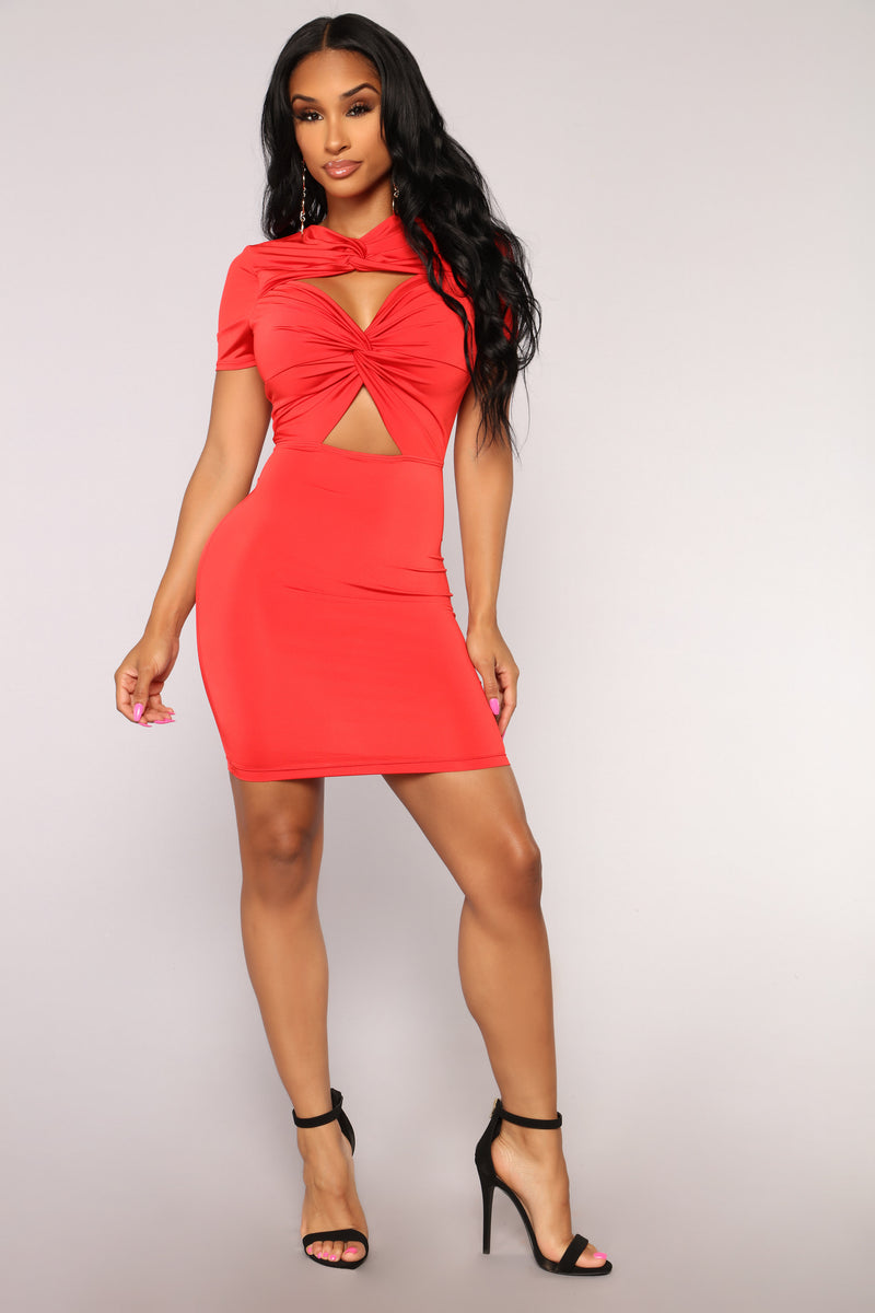 Good Changes Cut Out Dress - Tomato