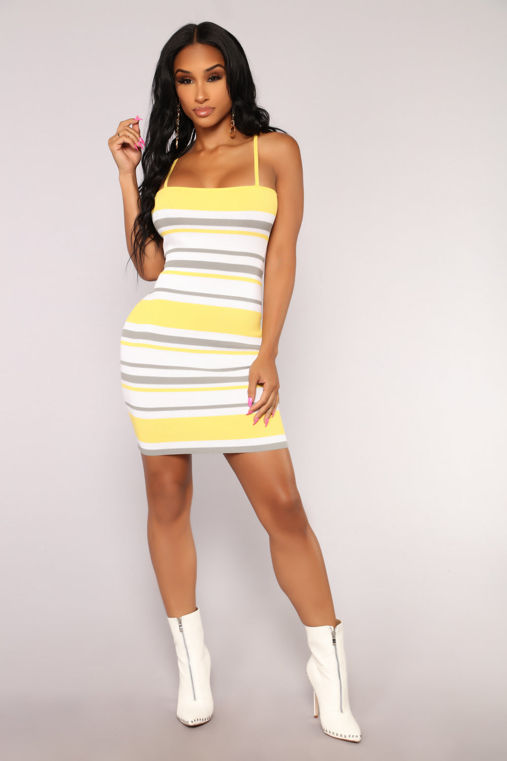 Keep Your Promises Knit Dress - Yellow