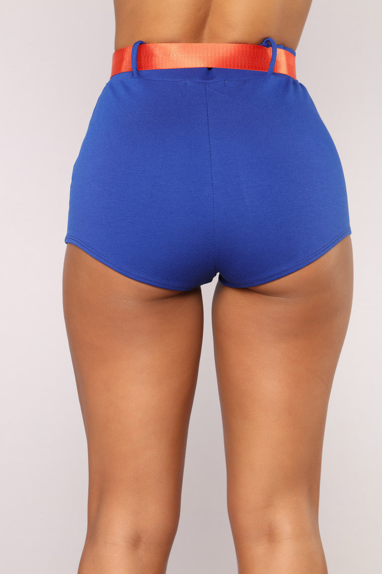 Ariella Belted Shorts - Blue/Orange