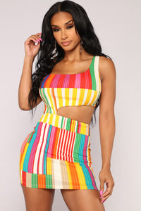 You By My Side Stripe Dress - Red/Multi