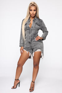 Don't Trip Acid Wash Romper - Black Acid