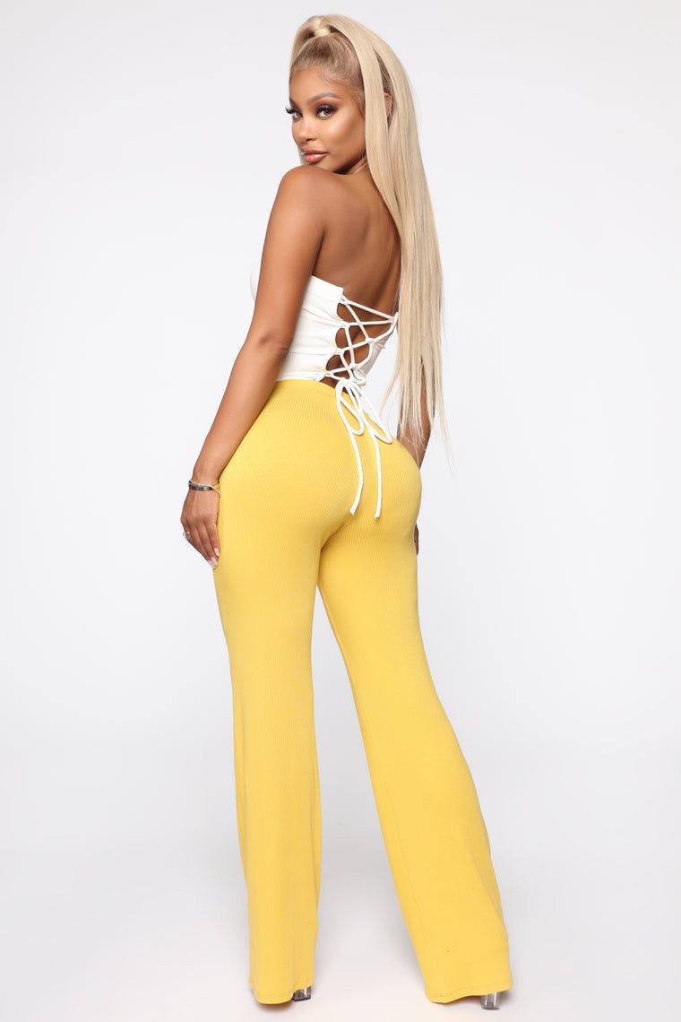 Perfect Feeling Ribbed Pants - Mustard