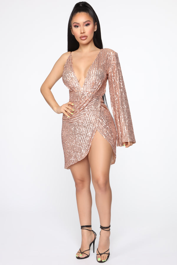 fae890042bb Just Getting Started Sequin Mini Dress - Rose Gold