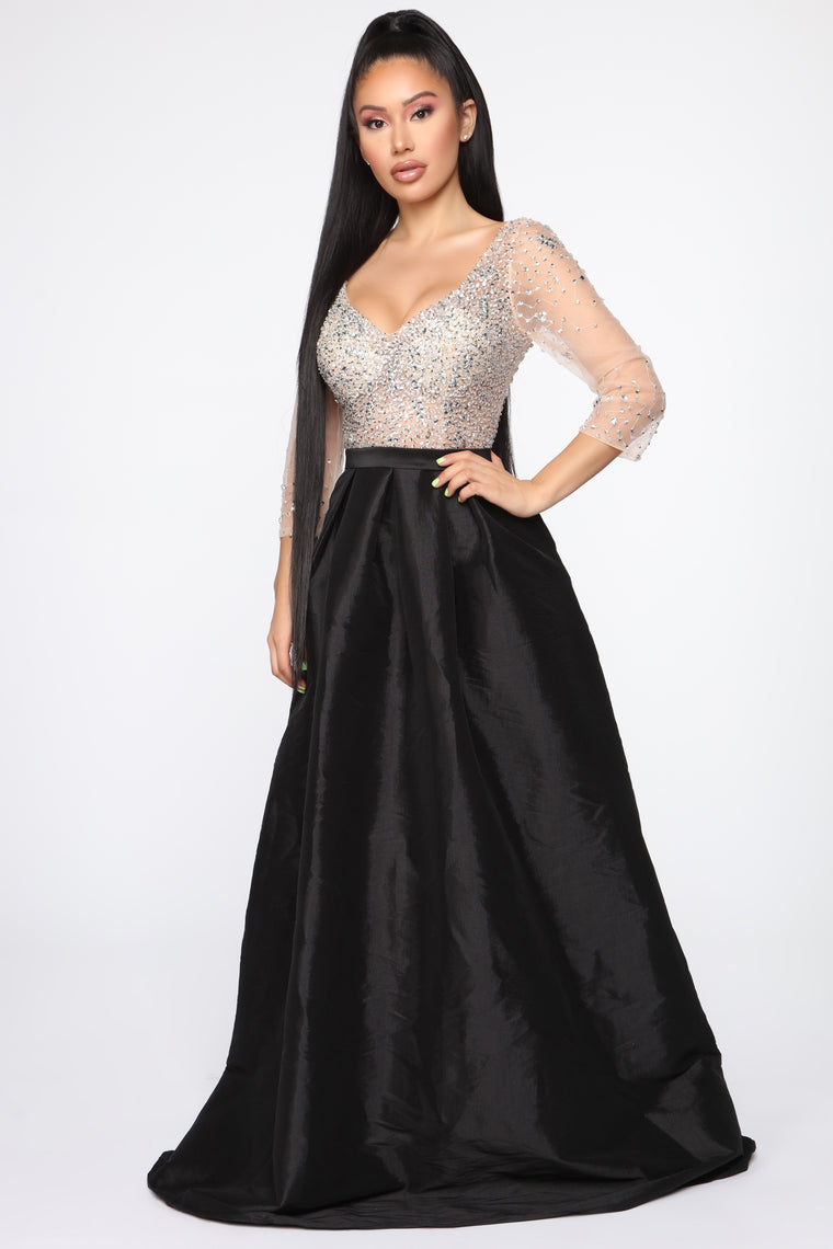 Pure Elegance Embellished Gown - Black/Nude