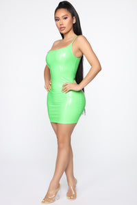Don't Miss Out Latex Mini Dress - Neon Lime