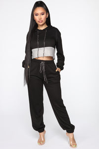 Make It Boujee Rhinestone Jogger Set - Black