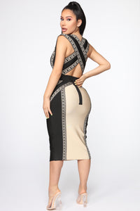 Tiger Status Bandage Midi Dress - Black/Sand