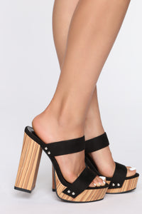 Greater Heights Heeled Sandals - Black