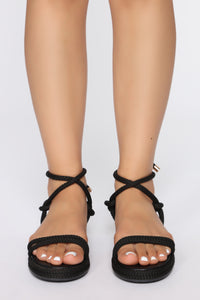 It Isn't Fair Flat Sandals - Black