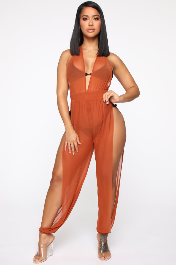 a3cf7b5505 Sea Breeze Swim Cover Up Jumpsuit - Copper