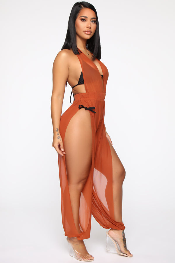 82f4035b62 Sea Breeze Swim Cover Up Jumpsuit - Copper
