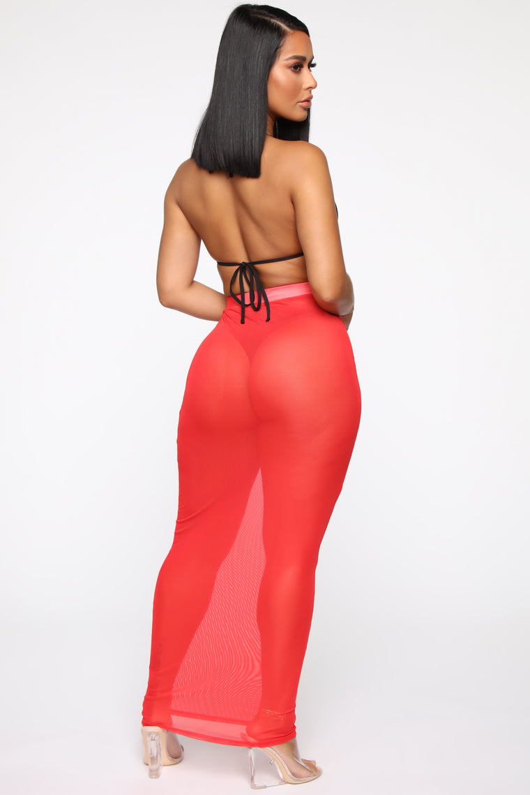 Walking By The Water Coverup Skirt - Red