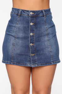 Easy A Line Denim Mini Skirt - Medium Blue Wash Angle 2