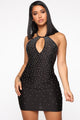 Blow You Away Rhinestone Mini Dress - Black