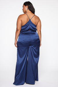 Well Mannered Satin Jumpsuit - Navy